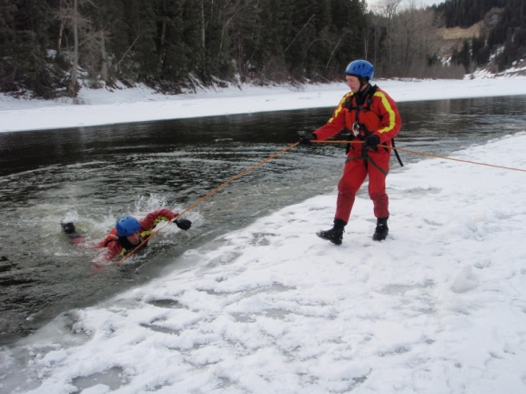 Swimming to self rescue on ice